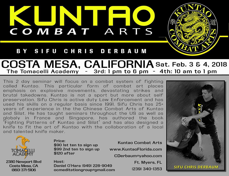 Kuntao trainig seminar Feb 2018 in Costa Mesa with Sifu Chris Derbaum