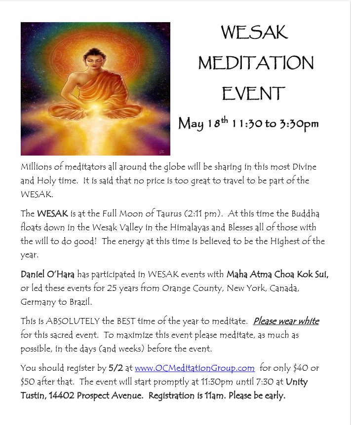 Wesak meditation event May 18, 2019 from 11:30am to 3:30pm